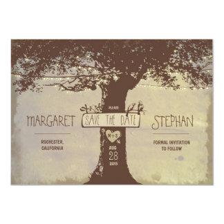 rustikaler Baum und Schnur beleuchtet Save the Karte