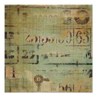 Rustikaler Bingo-Collagen-Bauernhof Poster