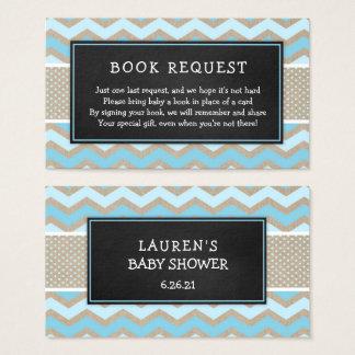 Rustikaler blauer Babyparty-Buch-Antrag 3656 Visitenkarte