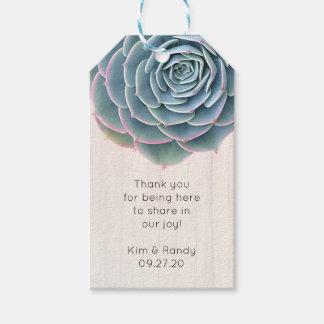 Rustikaler blauer Succulent danken Ihnen Geschenkanhänger