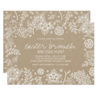 Rustikaler Blumenostern Brunch Kraftpapiers u. Karte