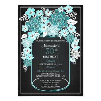 Rustikaler BlumenWeckglas-Tafel-Geburtstag 4 12,7 X 17,8 Cm Einladungskarte
