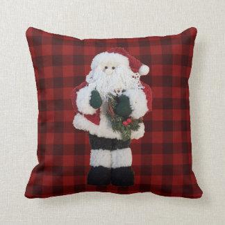 Rustikaler Büffel-Karo-kariertes Weihnachten Kissen
