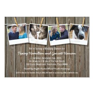 Rustikaler Clothesline-Foto-Polterabend 12,7 X 17,8 Cm Einladungskarte