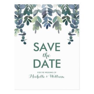 Rustikaler Eukalyptus-Grün-Gummi-Baum Save the Postkarte