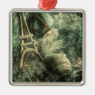 rustikaler französischer WeihnachtsShabby Quadratisches Silberfarbenes Ornament