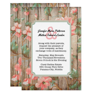 Rustikaler Frühling blüht Hochzeits-Einladung Karte