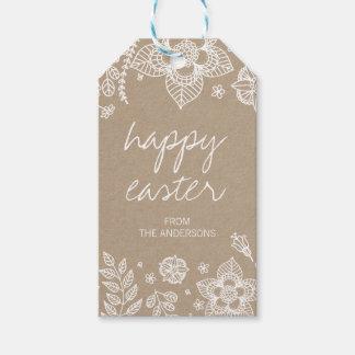 Rustikaler glücklicher Ostern Geschenk-mit Geschenkanhänger