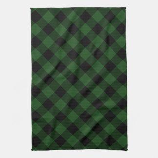 Rustikaler grüner und schwarzer Büffel kariert Küchentuch