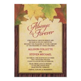 Rustikaler Herbst verlässt Hochzeits-Einladung
