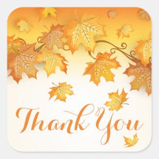 Rustikaler Herbstlaub dankt Ihnen orange Quadratischer Aufkleber