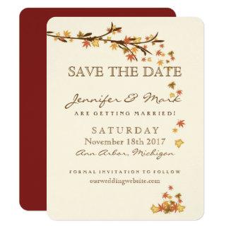 Rustikaler Herbstlaub, der Save the Date Wedding Karte