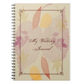 Rustikaler Herbstlaub, der Zeitschrift Wedding ist Spiral Notizblock