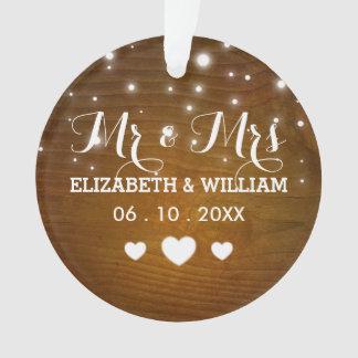 Rustikaler Herr u. Frau Wedding Hearts Christmas Ornament
