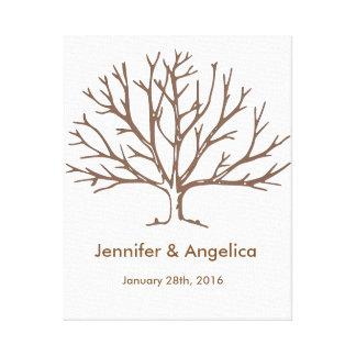 Rustikaler Hochzeits-Fingerabdruck-Baum Leinwanddrucke