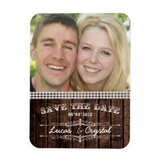 Rustikaler Hochzeits-Foto-Magnet Magnet
