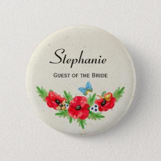 Rustikaler Hochzeits-Gast-rotes Runder Button 5,1 Cm