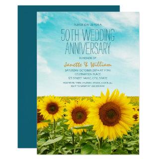 Rustikaler Hochzeitstag der Sonnenblume-50. mit Karte
