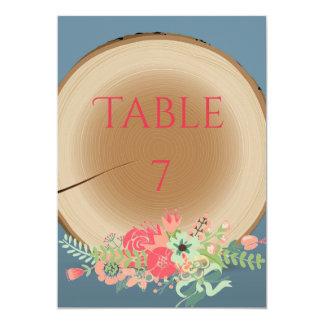 Rustikaler hölzerner Blumenstrauß - Tischnummer 12,7 X 17,8 Cm Einladungskarte