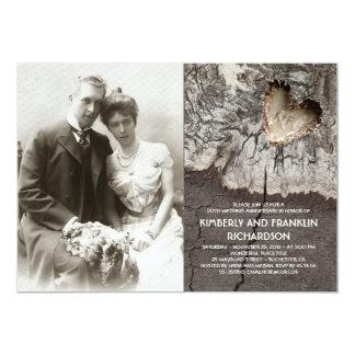 Rustikaler hölzerner Herz-Foto-Hochzeits-Jahrestag Karte