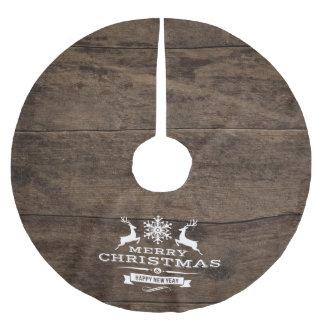 Rustikaler hölzerner Ren-frohe Weihnacht-Dekor Polyester Weihnachtsbaumdecke