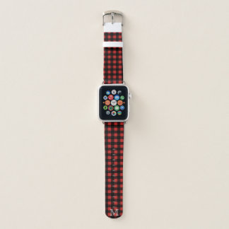 Rustikaler Holzfäller-karierter u. weißer Apple Watch Armband