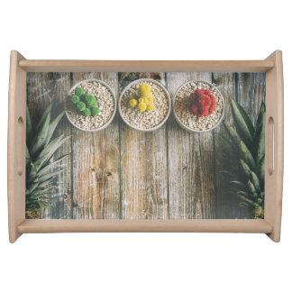 Rustikaler Kaktus-Holz-Behälter Tablett
