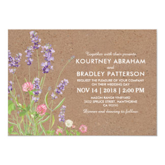 Rustikaler Land-Garten-Lavendel-Blumenhochzeit Karte