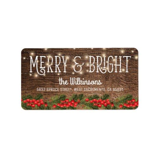 Rustikaler Land-Weihnachtsfeiertag Adressaufkleber