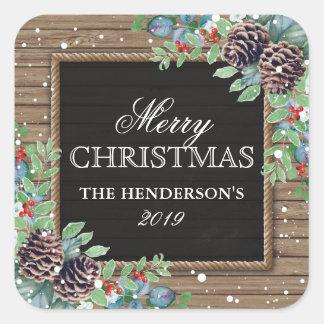 Rustikaler Land-Weihnachtswinter | frohe Feiertage Quadratischer Aufkleber