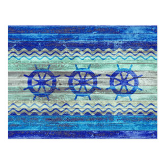 Rustikaler Marine-Blau-Küstenschiffs-Helm Postkarte