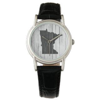 Rustikaler Minnesota-Staats-hölzerne Platte Armbanduhr