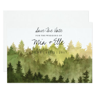 Rustikaler Ombre Watercolor-Wald Save the Date Karte