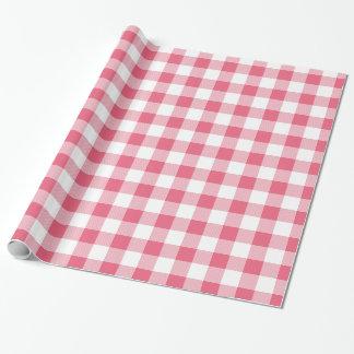 Rustikaler rosa und weißer Büffel-Karo Geschenkpapier