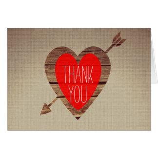Rustikaler roter Herz-Pfeil danken Ihnen Karte