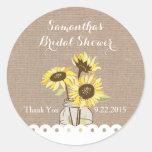 Rustikaler Sonnenblume-Brautparty-Aufkleber