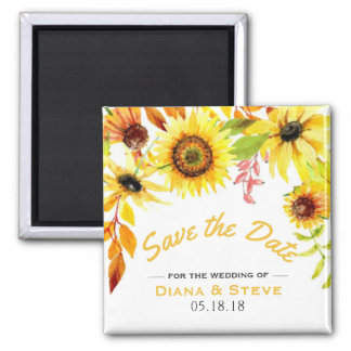 Rustikaler Sonnenblume-Herbst, der Save the Date Quadratischer Magnet