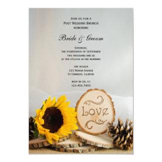 Rustikaler Sonnenblume-Waldposten-Hochzeits-Brunch Karte