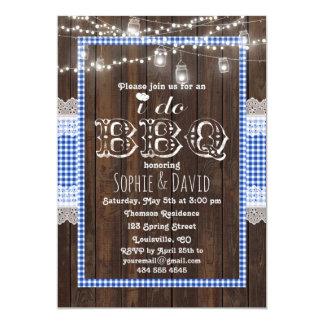 Rustikaler Spitze-blauer Gingham-altes Holz TUE 12,7 X 17,8 Cm Einladungskarte