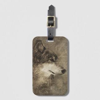 Rustikaler Timberwolf-Illustrations-Gepäckanhänger Gepäckanhänger