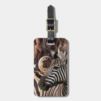 rustikaler ursprünglicher Afrika-Safaritier Zebra Gepäckanhänger