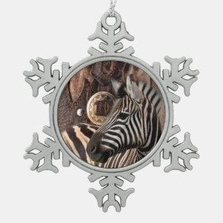 rustikaler ursprünglicher Afrika-Safaritier Zebra Schneeflocken Zinn-Ornament
