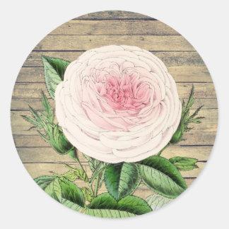 Rustikaler Vintager mit Blumenaufkleber der Rose Runder Aufkleber