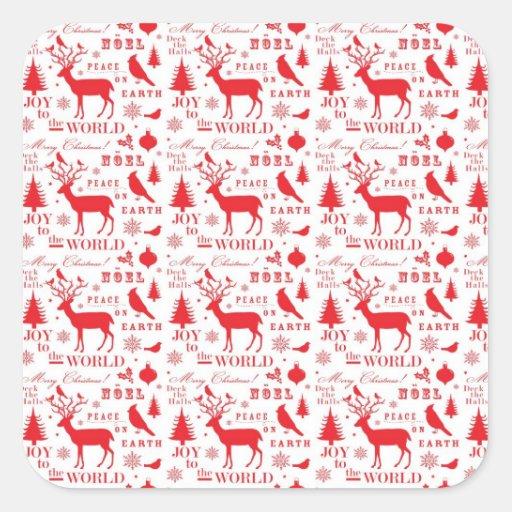 Rustikaler Weihnachtsren-Baum-Vogel-Feiertag Sticker