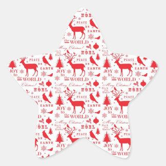 Rustikaler Weihnachtsren-Baum-Vogel-Feiertag Stern Aufkleber