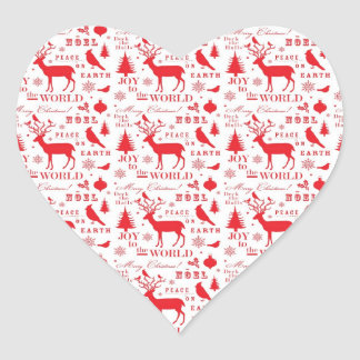 Rustikaler Weihnachtsren-Baum-Vogel-Feiertag Herzaufkleber