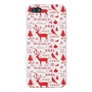 Rustikaler Weihnachtsren-Baum-Vogel-Feiertag iPhone 5 Schutzhülle