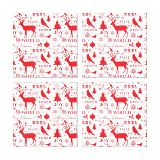 Rustikaler Weihnachtsren-Baum-Vogel-Feiertag Gespannter Galeriedruck