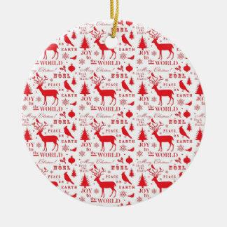 Rustikaler Weihnachtsren-Baum-Vogel-Feiertag Weihnachtsbaum Ornamente