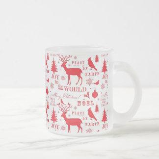Rustikaler Weihnachtsren-Baum-Vogel-Feiertag Tasse